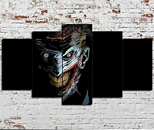 Impression sur Toile, 5 Panneaux muraux Scary Joker Batman...