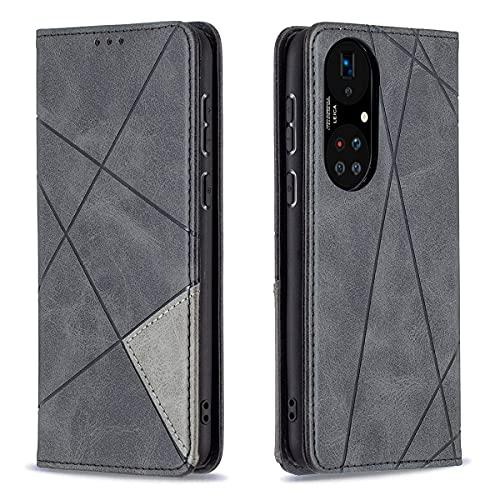 LUSHENG Billetera Case para Huawei P50 Pro, Cierre Magnético Premium PU Imitación Cuero Folio Cover Tarjetas Titulares A Prueba de choques Protector Funda para Huawei P50 Pro 6.6' - Negro