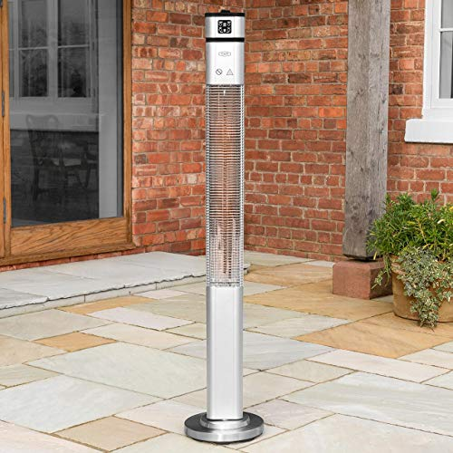 Harrier 2000W Tower Patio Heater | Patio Heaters & Electric Heaters for Home | Outdoor Heater with 50,000 Operating Hours Lifespan | Portable Heater with 3 Heat Levels