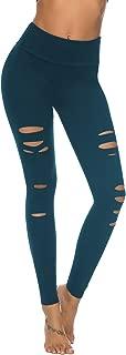 Womens High Waist Yoga Pants Cutout Ripped Tummy Control Workout Running Yoga Skinny Leggings