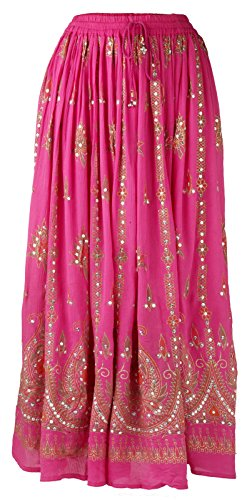 IK Collections Womens Print Elastic Waistband Long Broom/Maxi Skirt with Sequin Detail, Pink