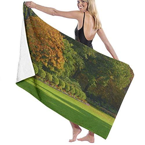 Eaceful Forest - Toalla de playa para niños, 100 % algodón, muy suave, diseño de hojas verdes y amarillas