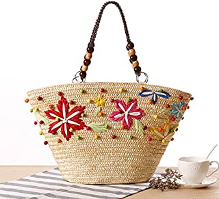 Bohemia Summer Style Beach Bag Women Fashion Straw HandBag Beading Knitted Handmade Tote Bag