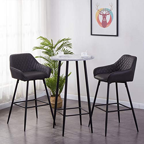 AINPECCA Set of 2 Bar stools Faux Leather Upholstered seat with Backrest &...