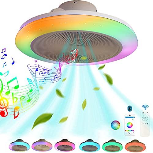 VOMI LED Música Ventilador de techo con Luz y Altavoz Bluetooth, Inteligente RGB Ventilador de techo con iluminación Control remoto y APP Silencio Regulable Lámpara de techo Fan Para Salón dormitorio