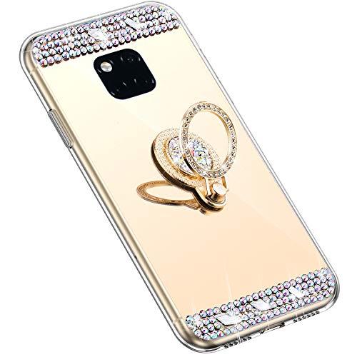 Uposao Kompatibel mit Huawei Mate 20 Pro Hülle mit 360 Grad Ring Ständer Glänzend Glitzer Strass Diamant Transparent TPU Silikon Handyhülle Ultra Dünn Durchsichtig Schutzhülle Case,Gold
