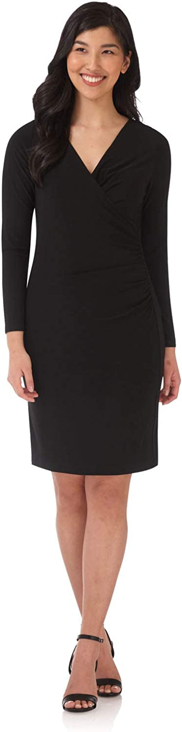 Rekucci Women's Flattering Crossover Dress with Long Sleeves