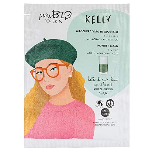 Kelly Alginat-Gesichtsmaske für trockene Haut mit Hyaluronsäure Spirulina-Milch 13g PuroBIo