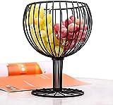 KFGJ Cesto di Frutta Ciotola di Verdure Come Bicchiere da Vino,Artigianato Geometrico in Ferro Home Soggiorno Conservazione Snack Contenitore per Frutta Nero