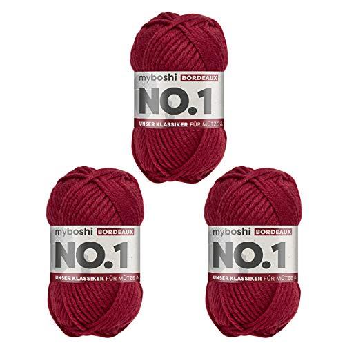 myboshi No.1-Wolle zum Häkeln und Stricken, mit Merinowolle, hochwertiges Schnellstrickgarn, Pflegeleichte, langlebige Mützenwolle, Mulesing-frei, 3 knl x 50gr, Ll 55m Rot (Bordeaux) 3 Knäuel