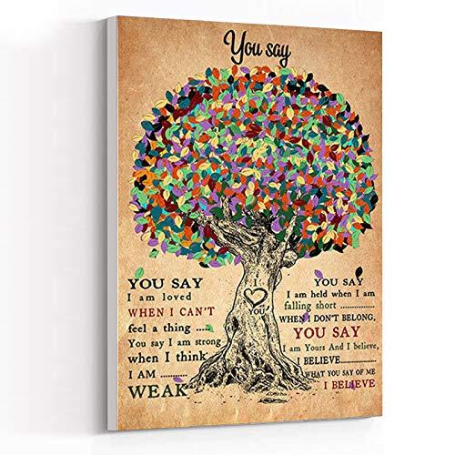INSPIRATIONAL CANVAS WALL ART ,canvas art wall decor for living room ,Lauren Daigle You Say Lyrics Poster,Music Wall Art,Song Lyrics Art Print,12  x18   Framed Modern Canvas Wall Art,