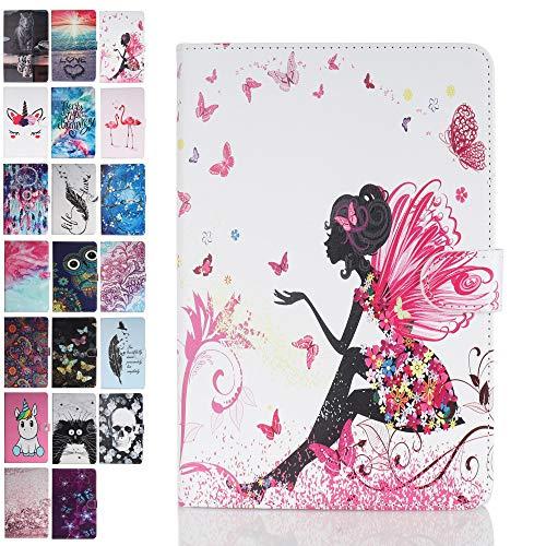 Ancase Tablet Hülle kompatibel für Universal 10 Zoll 9.6 9.7 10.1 Zoll Hülle Hülle Leder Tasche Muster Schutzhülle Flip Cover mit Kartenfach - Weibliche Elfe