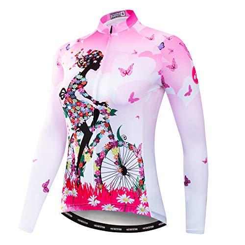 Weimostar Maglia Manica Lunga Ciclismo Donna Mountain Bike Jersey Camicie Abbigliamento Bici da Strada MTB Top Abbigliamento Sportivo Camicetta Autunno Primavera Bici Rosa XL