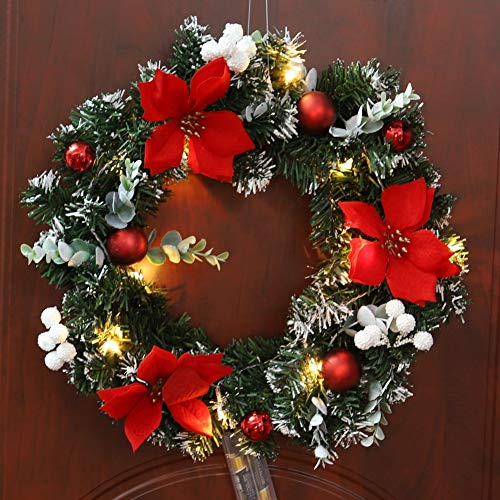Handfly Christmas Wreath with Battery Powered LED Fairy String Lights Front Door Hanging Garland Door Wreath Artificial Wreath Chrismas Wreath Gerland Decoration