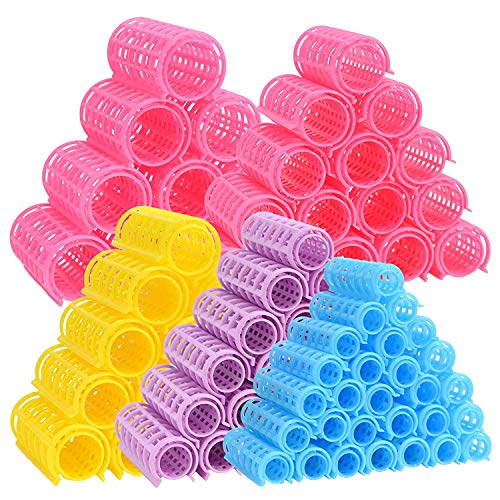 50 Pcs Rouleaux à Cheveux Bigoudis Snap on Rollers Bigoudis Clips Styling Rollers Self Grip Hair Rollers No Heat Wave Style DIY Hairdressing Bigoudis Outils pour la maison Hair Styling