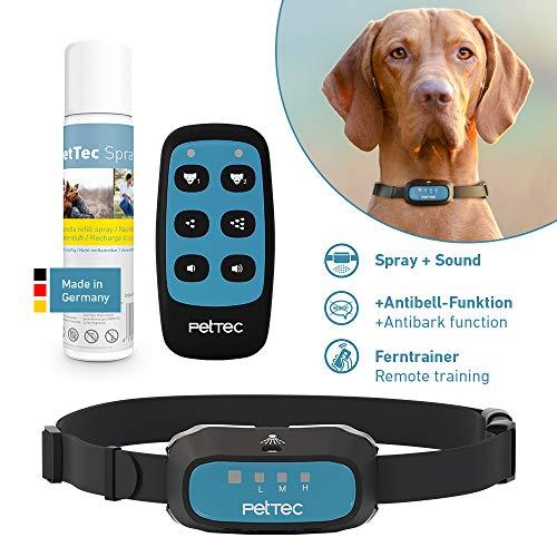 PetTec Trainingshilfe für Hunde & Jagdhunde mit Fernbedienung | Reichweite=180m | Akkubetrieb | inkl. Halsband & Spray | Ton- und Sprühimpuls