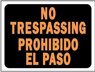 "HY-KO Products 3070 BI-LING NO TRESPASSING Plastic Sign, 8.5"" x 12"", Orange/Black"