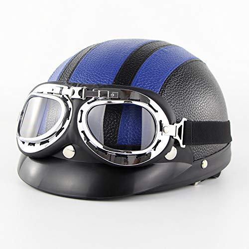 Xwenx Casco de motocicleta para mujer, casco de piel, para motocross, ATV, cruiser, scooter, Chopper, ciclomotor, motocicleta, aprobado por DOT, F