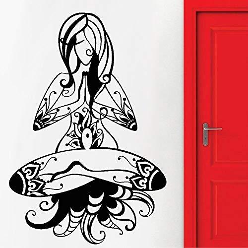 JXFM DIY Mujer Etiqueta de la Pared Yoga enseñanza Vinilo Arte Pared calcomanía Sala de Estar Dormitorio decoración del hogar 75x50 cm