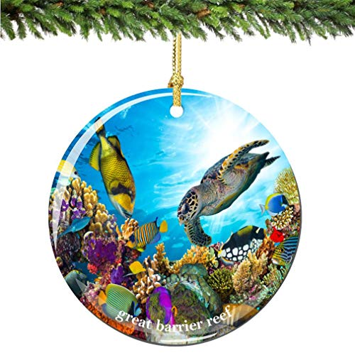 cwb2jcwb2jcwb2j Great Barrier Reef Christmas Ornament Porcelain Double Sided Ocean Christmas Ornament City Souvenir Ceramics Christmas Tree Decoration 3 Inches
