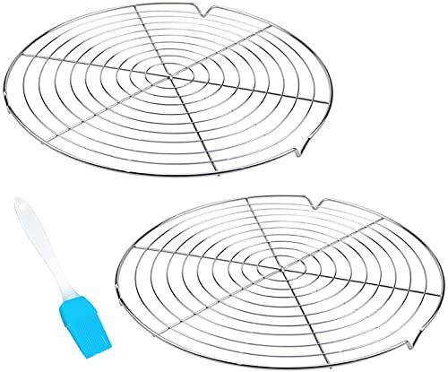 Abkühlgitter Kuchengitter Auskühlgitter Rund 2 Stück Verchromt Metall Gleichmäßiges und Schnelles Auskühlen Ø 30,5 cm mit Silikonbürste