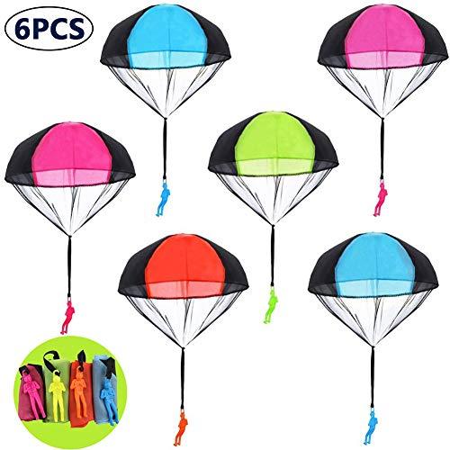 BESTZY Fallschirmspringer Spielzeug, 6 Stück Kinder Fallschirm Hand Werfen Fallschirm Männer Flugspielzeug Set Kinder Hand Werfen Fallschirm Kreative Spielzeug