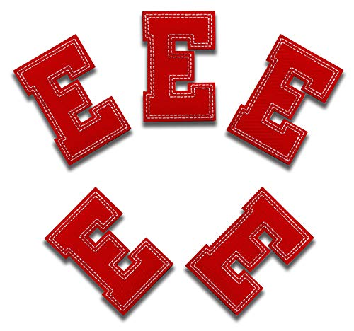 Red Letter E -5pcs Alphabet Letter A-Z Iron on Patches Sew on Appliques 3.15 x 2.12 inches