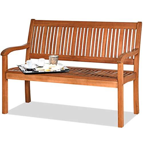 DREAMADE Gartenbank Sitzbank aus Eukalyptusholz, Holzbank mit Ergonomischer Rücken- und Armlehne 126x63x91cm, max. 320kg Belastbarkeit, Parkbank Terrassenbank für Indoor Outdoor
