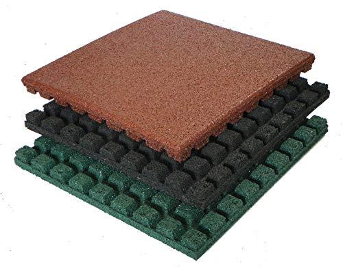 Gartenpirat Fallschutzmatten 50x50 cm Stärke 43 mm Farbe rot nach EN 1177:2008
