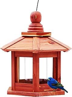 Homes Garden USA Cedar Bird Feeder Gazebo with Plastic Transparent Tube Lantern Wood Bird Feeder Hexagonal Pavilion Bird Feeder for Outdoors Yard Patio G-8527