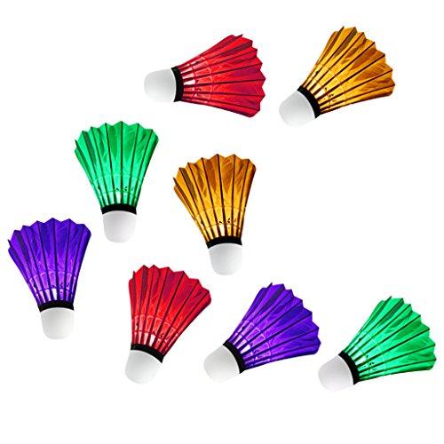 perfk 8 Stück Bunte LED Badminton Ball Set Leuchtende Federbälle