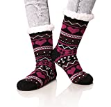Dosoni Women's Snowflake Fleece Lining Knit Christmas Knee Highs Stockings Slipper Socks (Black)