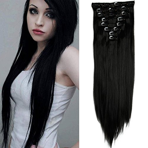 Clip in Extensions wie Echthaar günstig Haarteile 8 Tresssen 18 Clips für komplette Haarverlängerung Glatt Haarextensions 26