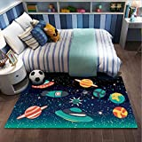 QNYH Alfombra de Juego de Dibujos Animados, Alfombra de Pelo Corto con patrón de Planeta Espacial cósmico, decoración de Dormitorio de Sala de Juegos Alfombra de Gateo para bebés 80cmx150cm