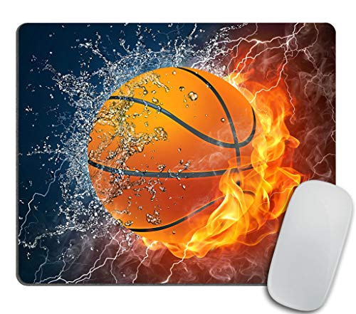 Gaming Mouse Pad Custom, Basketball Ball in fire and Water Rectangle Non-Slip Rubber Mousepad 9.5 X 7.9 Inch (240mmX200mmX3mm)