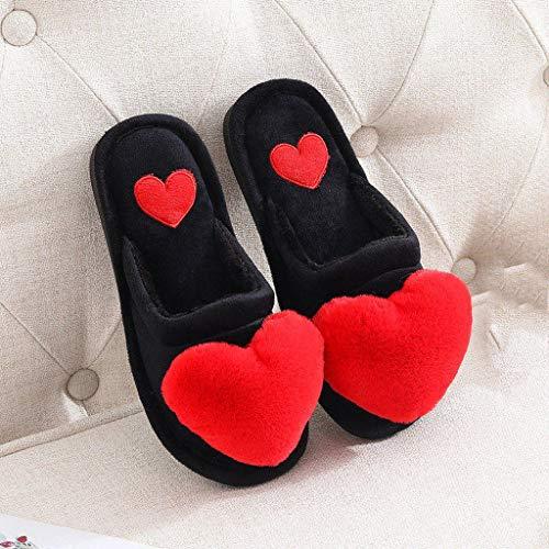 AYDQC Zapatillas para Mujer Zapatos de Invierno Invierno Casa Zapatillas Cálido Amor Heart Heart Slip Floor Home Furry Slippers Moda Diapositivas (Color : A, Size : Code 40)