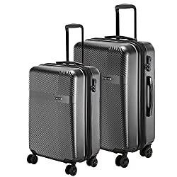 Nasher Miles Fifth Avenue Expander Hard-Sided Polycarbonate Luggage Set of 2 Black Trolley Bags (55 & 65 cm),Nasher Miles,NM S1153 5th Avenue Black 20 - 24
