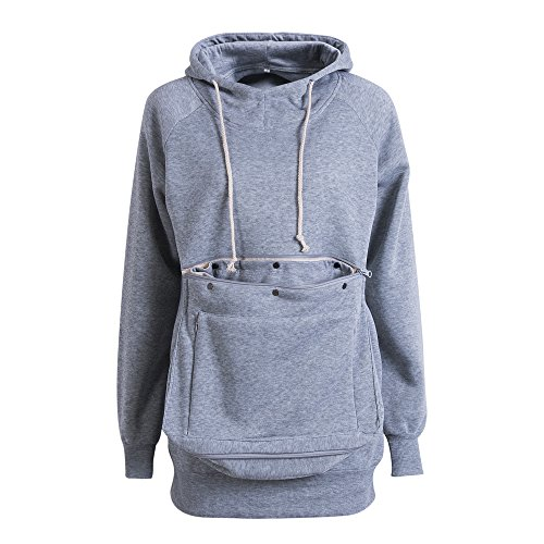 Unisex Long Sleeve Big Kangaroo Pet Pouch Hoodie Pet Cat Small Dog Holder Sweatshirt (XL, Grey)