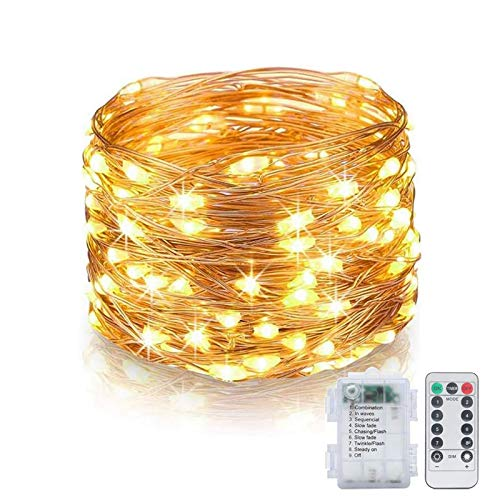 Kansas Fairy Lights 10 m 100 LED Battery Operated Fairy Lights with Remote Control Waterproof 8 Modes Fairy Lights for Party Wedding (Warm White, Pack of 1)