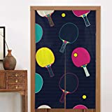 BISHUO Japanese Noren Tapestry Pop And Colorful Ping Pong Table Tennis Bat And Ball Seamless Pattern Door...