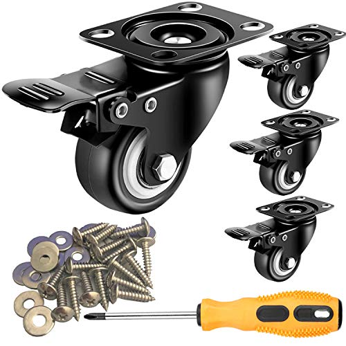 2 inch Casters Set of 4 with Brake, Polyurethane (PU) and Floor Protection, Noise-Free 360 Degree Swivel Heavy Duty Caster Wheels, Load Capacity-600lbs(Free Screws and a Screwdriver)
