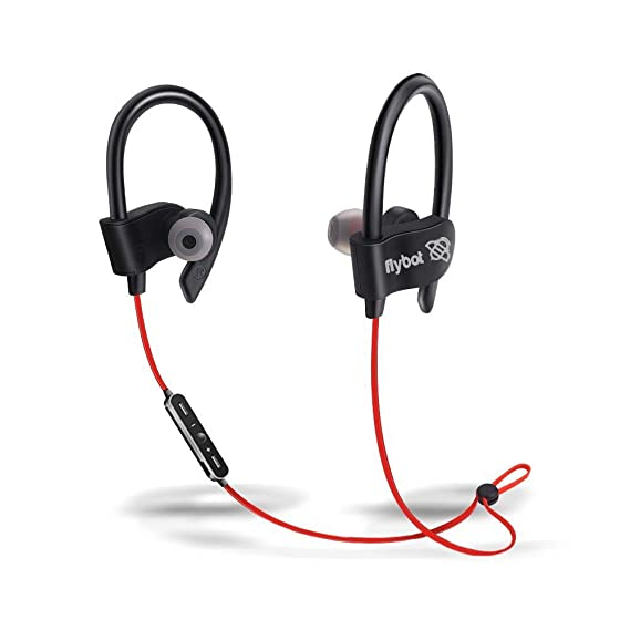 Flybot Wave in-Ear Sport Wireless Bluetooth Earphone with Mic and IPX4 Sweatproof - (Red)