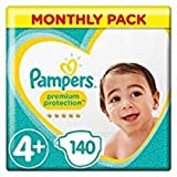 Pampers - Premium Protection - Couches Taille 4+ (10-15 kg) - Pack 1 mois (x140 couches)