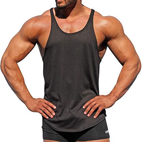 WEIMEITE Stringers Hombres Camisetas Sin Mangas Camisa Sin Mangas Culturismo Fitness Hombres Camisetas de Tirantes Camisetas Sin Mangas Ropa Muscular