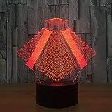 Luces Neon Pared Pyramid in Mexico Light Lamp 7 Cambios de Color Luces LED 3D Regalo de cumpleaños Navidad