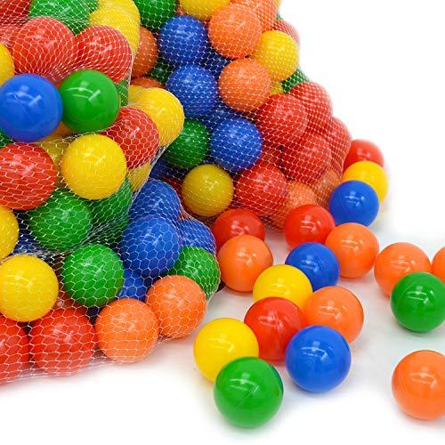 LittleTom 1000 Palline Colorate Ø 7 cm di Diametro | Palline di plastica Gioco per Bambini Prima Infanzia per riempire Piscine Tende | 5 Colori Misti Giallo Rosso Blu Verde Arancione | Alta qualità