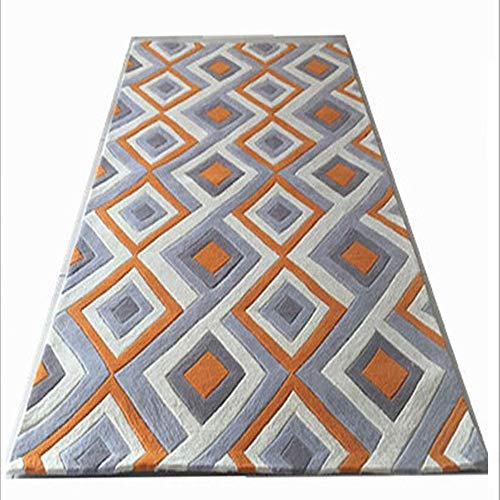 SWNN Carpet Bedside Orange Handgemachte Acryl-Teppich Schlafzimmer Bettvorleger Sofa Minimalistisch Modernen Wohnzimmer Couchtisch Aus Acrylteppichmatten Bettvorleger Aus (Size : 1.8 * 2.7m)