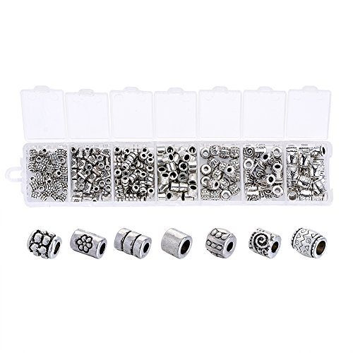 Beadthoven 260pcs 7 Style Tiny Antique Silver Column Spacer Beads 4-8mm Tibetan Alloy Tube Metal Spacers for Jewelry Necklace Bracelet Making Hole: 1.5-3.5mm