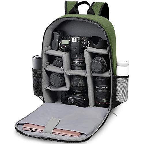 CADeN Mochila Cámara Réflex Con Compartimento para Laptop de 15.6 Pulgadas Professional para DSLR/SLR Cámara sin Espejo a Prueba de Agua, Compatible con Sony Canon Nikon Trípode de Lentes(Verde)