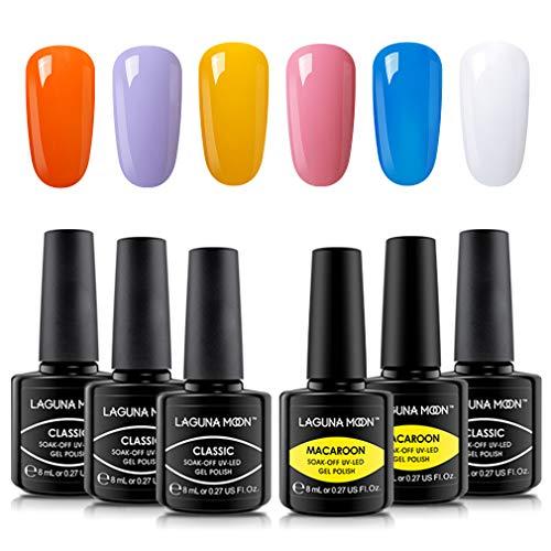 Lagunamoon Gel Nagellack UV LED, 6 Farben Themenset, Gel Polish Soak off 8ML - Osterei